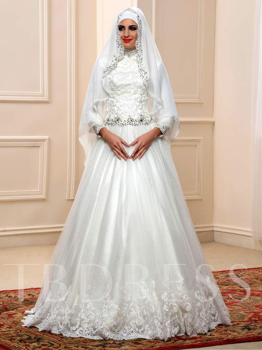 Arabic Sequins Beaded Lace High Neck Muslim Wedding Dress with Hijab ...