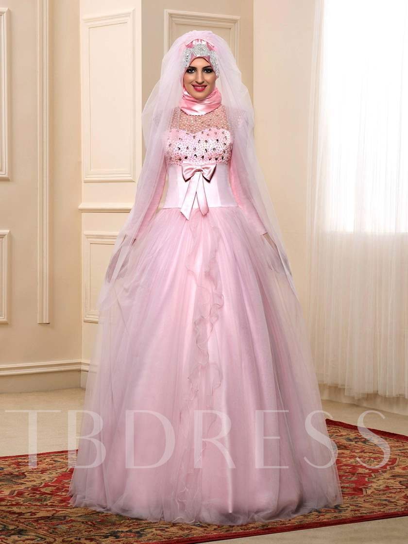 Beading Bowknot Empire Long Sleeves Muslim Wedding Dress with Hijab ...