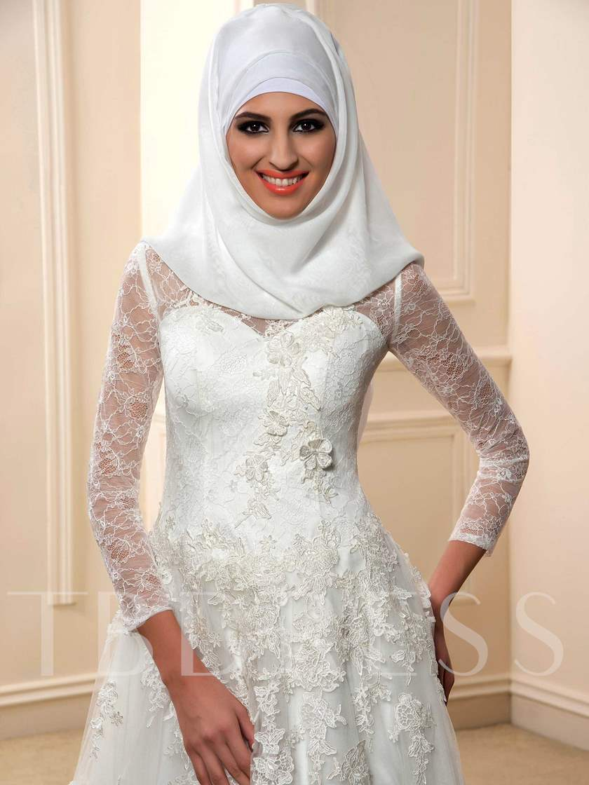 High Neck Long Sleeve A-Line Muslim Arabic Lace Wedding Dress with Hijab