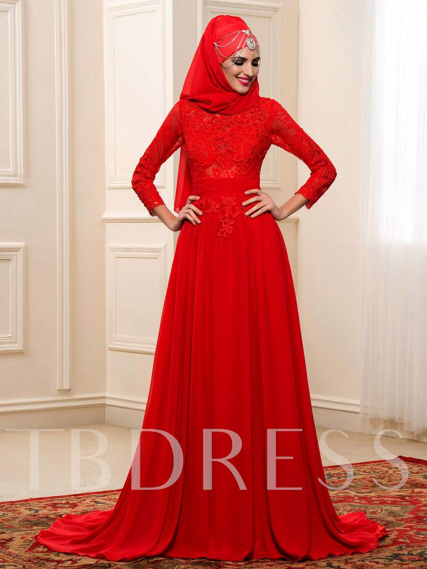 Red Lace Chiffon Bowknot Long Sleeve Muslim Wedding Dress - Tbdress.com
