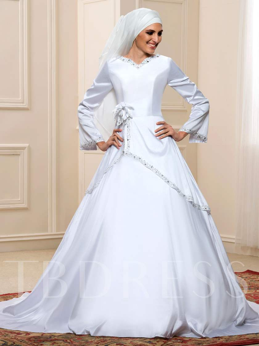 White Taffeta Long Sleeve Sequins Muslim Arabic Wedding Dress ...