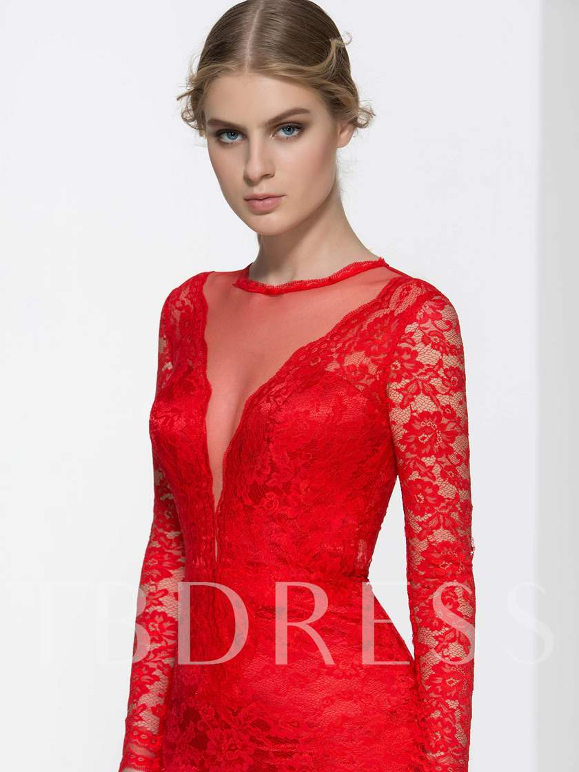 Long Sleeve Lace Court Train Evening Dress