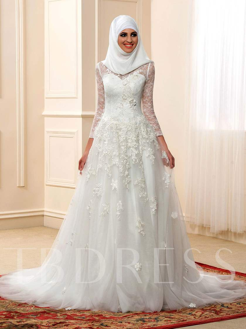 High Neck Long Sleeve A-Line Muslim Arabic Lace Wedding Dress with ...