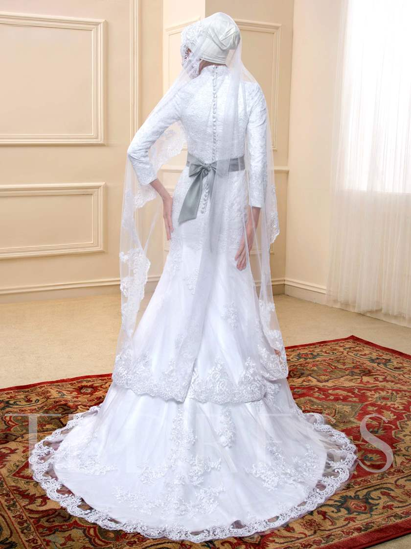 Long Sleeves Beading Lace Mermaid Muslim Wedding Dress