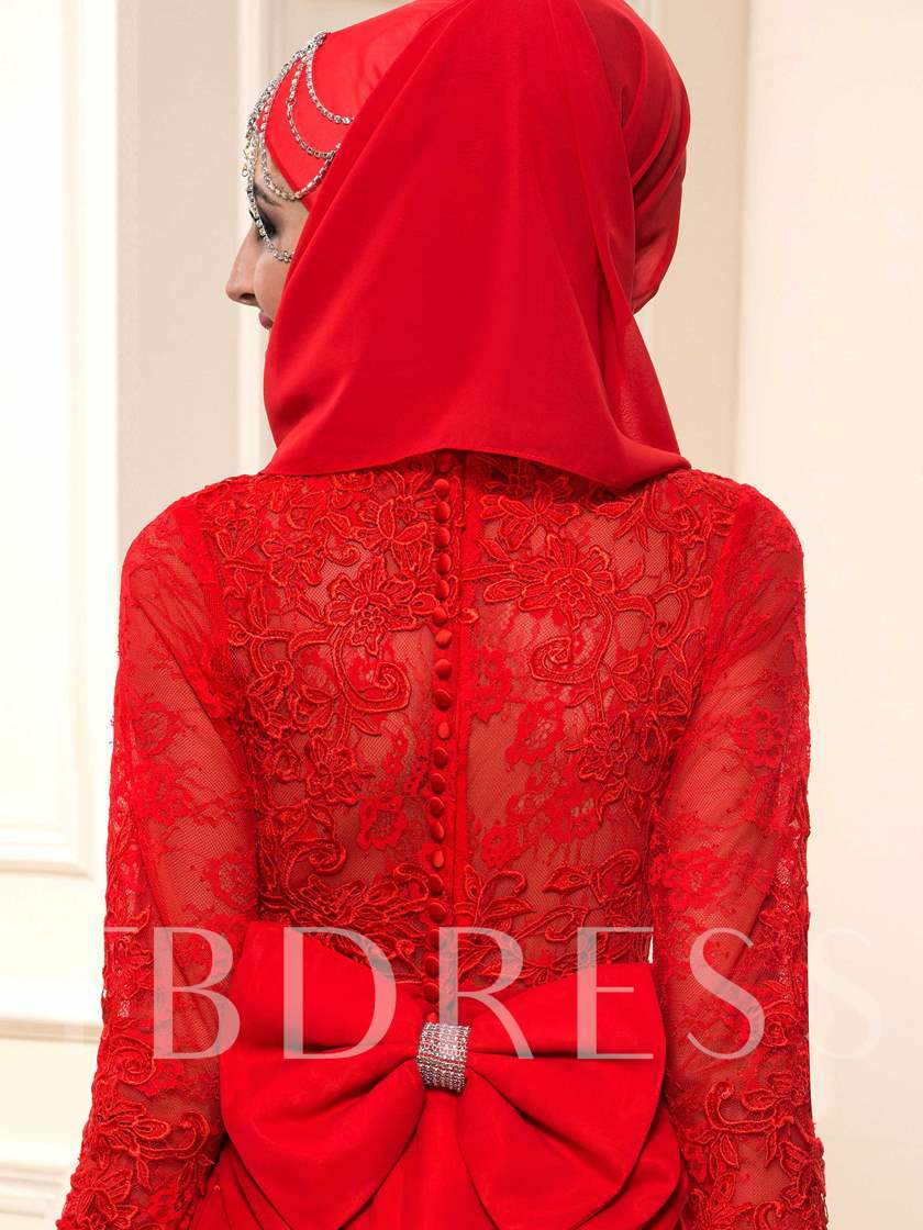 Lace Bowknot Long Sleeve Red Muslim Wedding Dress