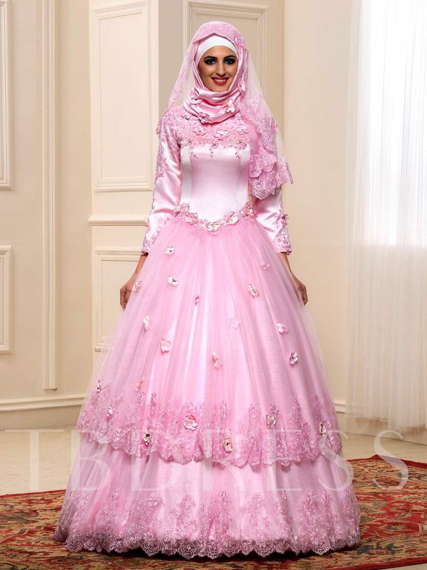 Long Sleeve Ball Gown Flowers Lace Muslim Arabic Wedding Dress in ...