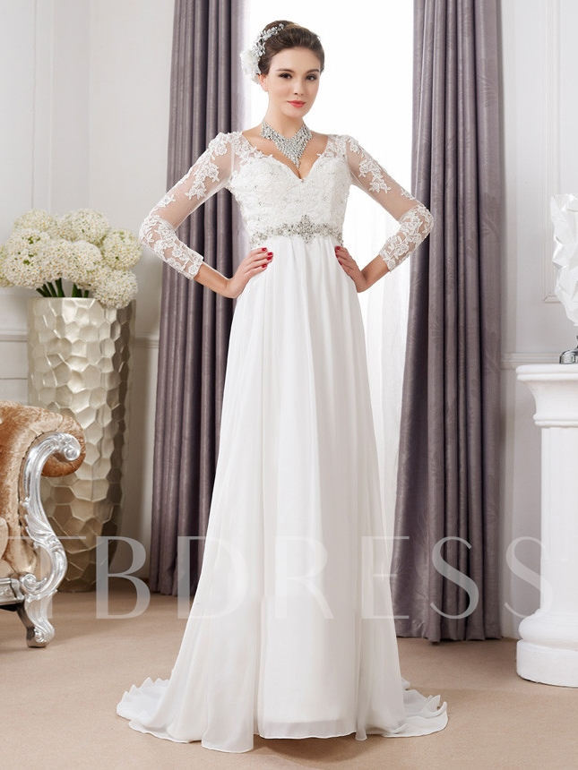 V-Neck Long Sleeve Lace Maternity Wedding Dress