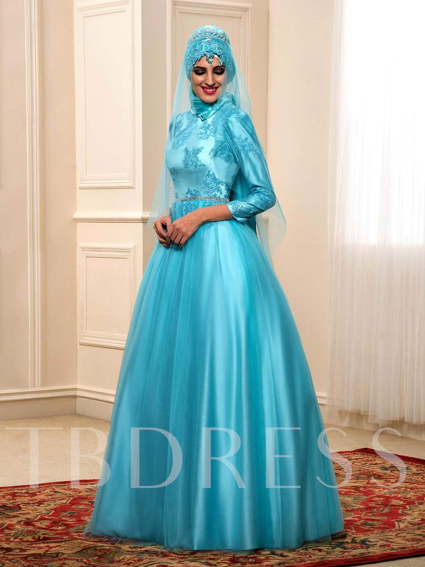 Long Sleeves Appliques Muslim Arabic Wedding Dress