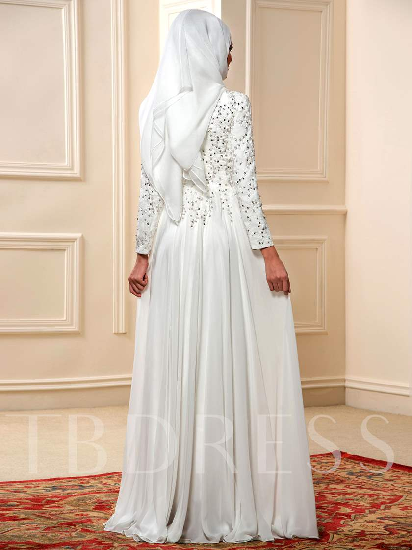Appliques Sequins Long Sleeve Musllim Wedding Dress with Hijab