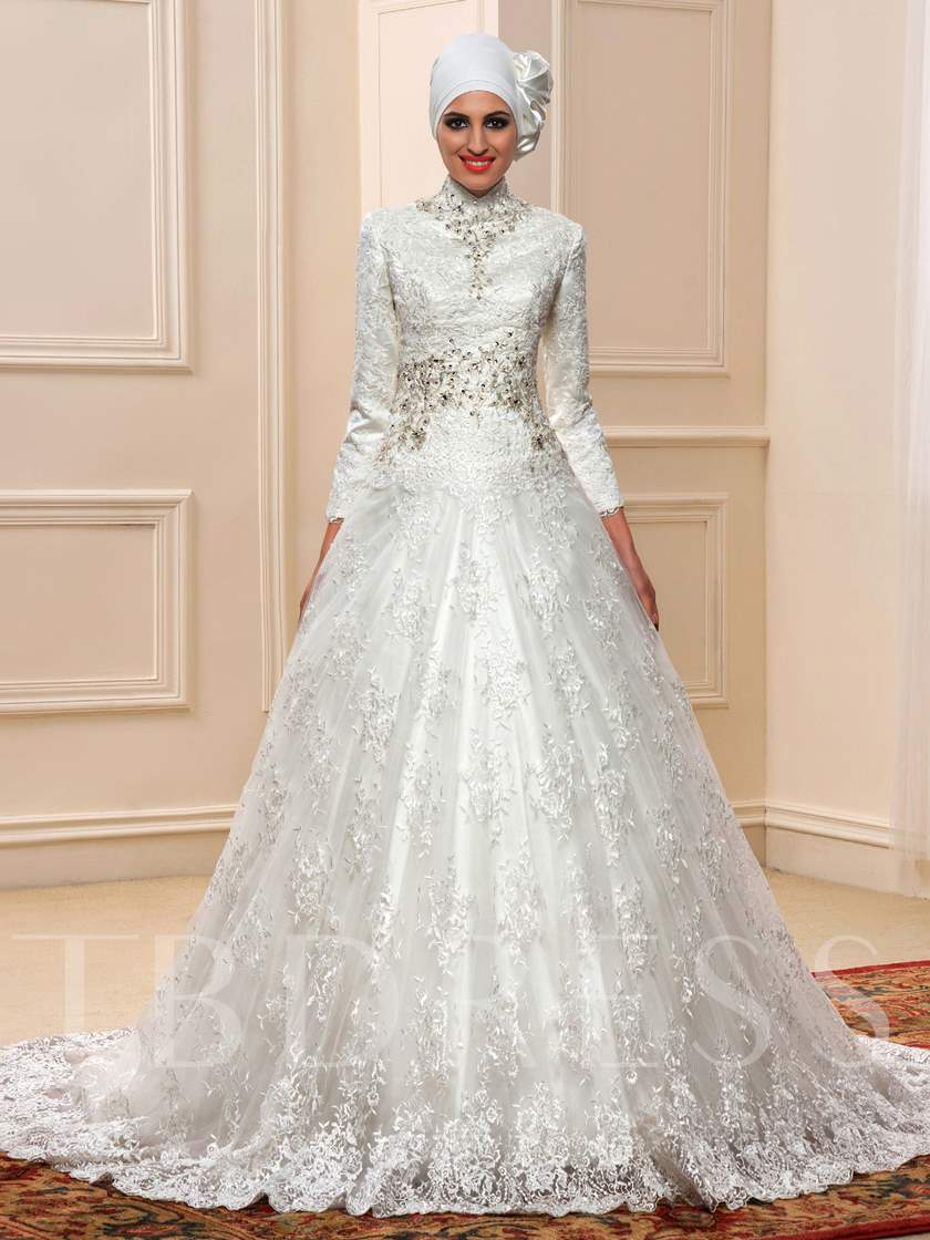 Beaded Long Sleeve Tulle Lace Court Muslim Wedding Dress with Hijab ...