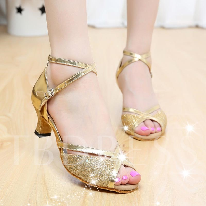 Peep Toe Chunky Heel Sequins Hollow Women's Sandals