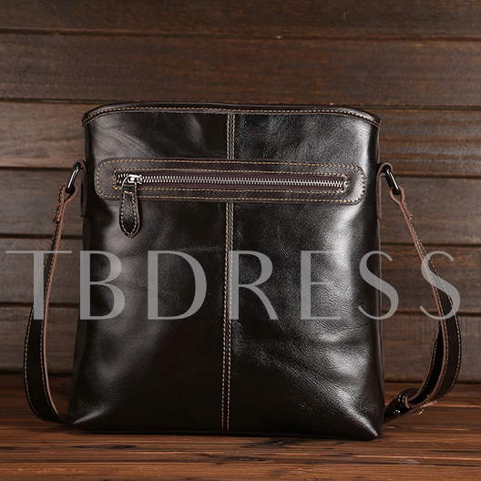 Vertical Casual Glossy Artifical Leather Men's Messenger Bag