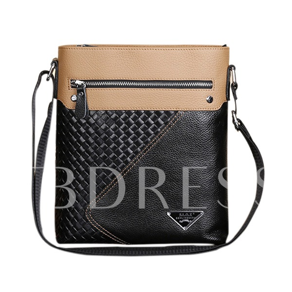 Vertical Weave And Glossy Patchwork Men's Messenger Bag