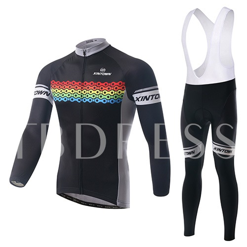 Color Link Keep Warm Long Sleeve Stretchable Men's Cycling Suit