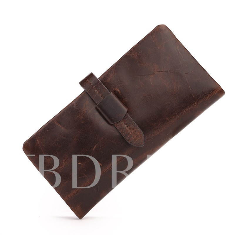 Waxy Long Style Men's Wallet