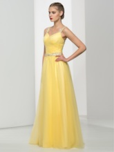 A-Line Straps Beaded Pleats Floor-Length Prom Dress