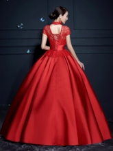 High Neck Flowers Ball Gown Ruched Lace Quinceanera Dress