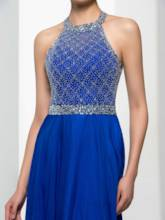 Halter A-Line Beading Backless Prom Dress