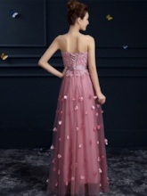 Appliques Lace Tulle Sweetheart Long Bridesmaid Dress
