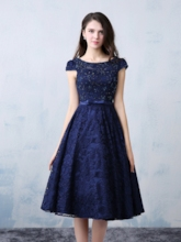Cap Sleeve Beading Bowknot Knee-Length Lace Cocktail Dress
