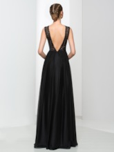 A-Line Black Sequins Evening Dress