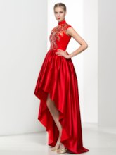 High Neck Lace Sequins Asymmetrical Length Prom Dress