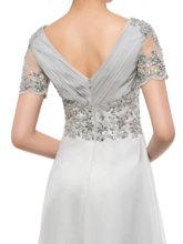 Appliques Beading Short Sleeves Mother of the Bride Dress