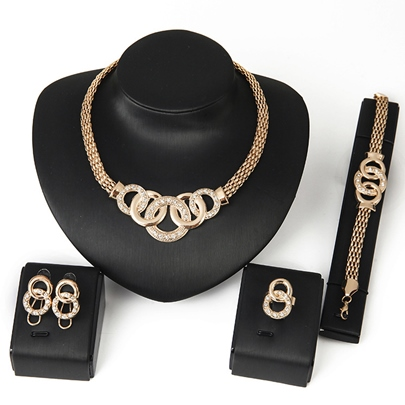 Gold-Plated Ring Be Buckled 4 Piece Jewelry Set Gold-Plated Ring Be Buckled 4 Piece Jewelry Set