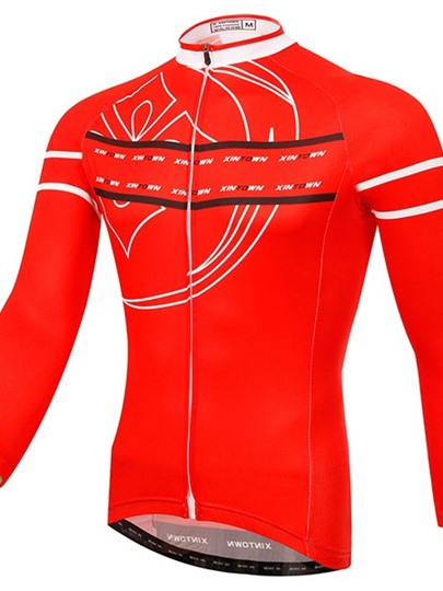Red Geometric Symbol Print Long Sleeve Cycling Jersey