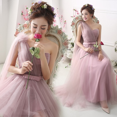 Tulle One-Shoulder Mini-Length Short Bridesmaid Dress