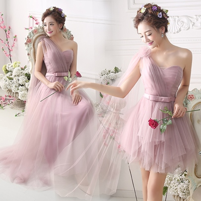 One-Shoulder Tulle Ankle-Length Bridesmaid Dress