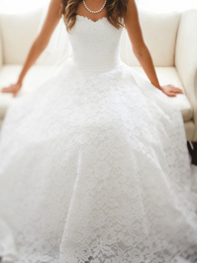 A-Line Sweetheart Lace Wedding Dress