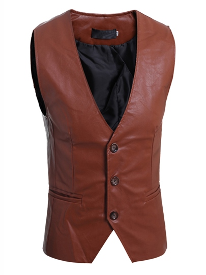Men's PU Vest with Double Pockets