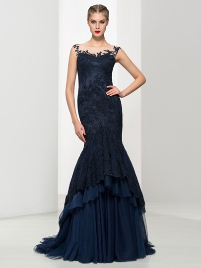 Appliques Tiered Long Mermaid Evening Dress