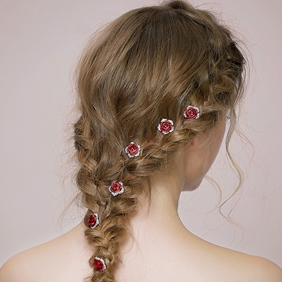 Red Rose Tiny Rhinestone Wedding Hairpin