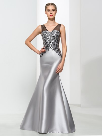 Double V-Neck Sequins Mermaid Evening Dress