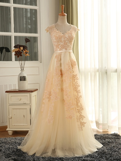 A-Line Zipper-Up Appliques Ribbon Long Prom Dress