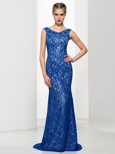 V-Neck Appliques Sheath Evening Dress