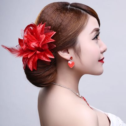 Red Bridal Wedding Hair Flower