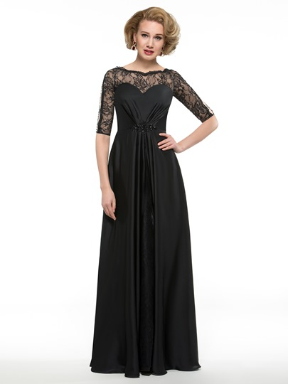 Floor-Length Half Sleeve Lace Satin Chiffon Mother of the Bride Dress