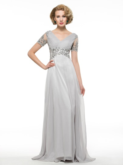 V-Neck Short Sleeve 30D Chiffon Beading Mother of the Bride Dress