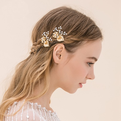 Golden Leaf Silver Beading Bridal Hairpin