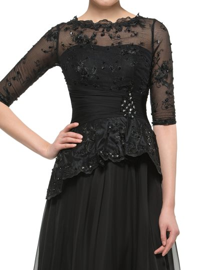 Half Sleeve Lace Sequins Mother of the Bride Dress