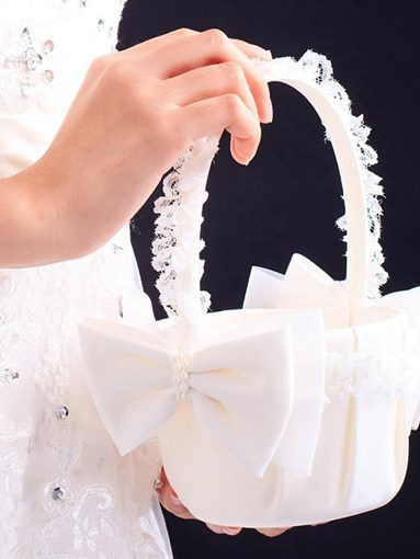 Satin Bowknot Lace Flower Basket