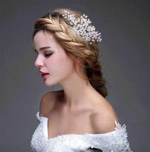 Starry Sky Pearls Bridal Hair Flower Comb