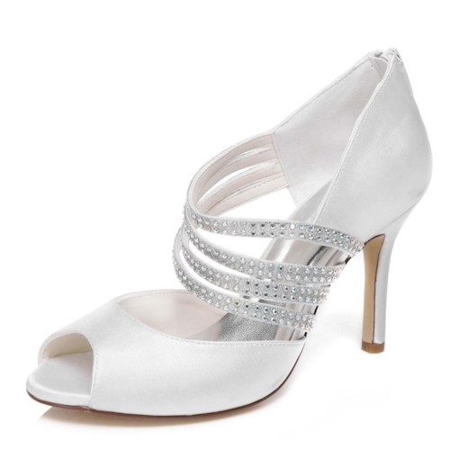 Rhinestone Peep Toe Stiletto Heel Zipper Women's Wedding Shoes