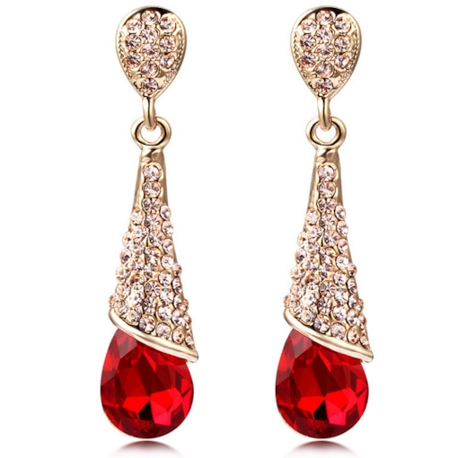 Crystal-Shaped Long Drop Earrings