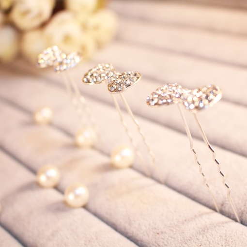 Bowknot Shaped Rhinestone Bridal Hairpin