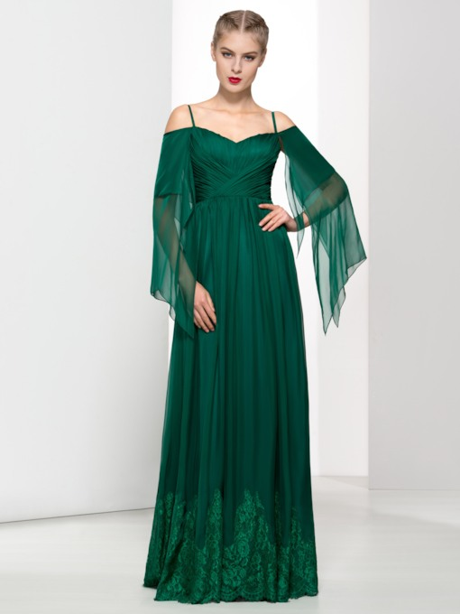 A-Line Spaghetti Straps Floor-Length Evening Dress