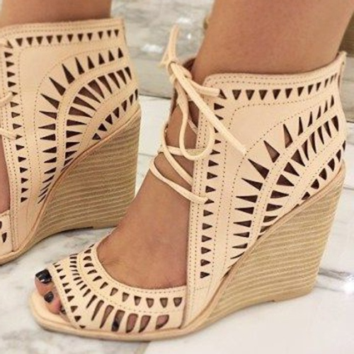 Wedge Heel Open Toe Lace-Up Hollow Women's Sandals